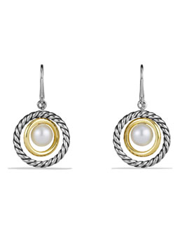 David Yurman Drop Earrings with Pearls and Gold