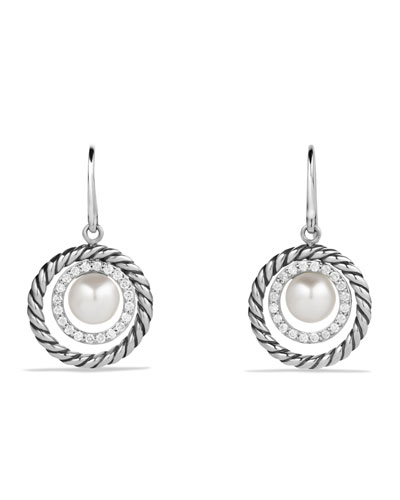 David Yurman Pearl Earrings with Diamonds