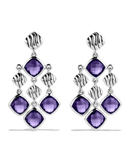 David Yurman Sculpted Cable Chandelier Earrings with Amethyst