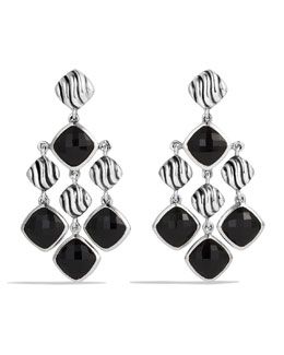 David Yurman Sculpted Cable Chandelier Earrings with Black Onyx