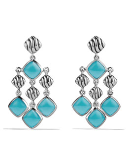 David Yurman Sculpted Cable Chandelier Earrings with Turquoise