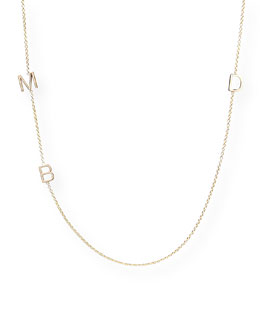 Maya Brenner Designs Mini 3-Letter Personalized Necklace, 14k Yellow Gold