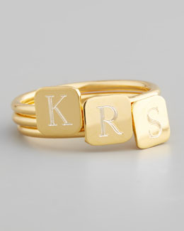 Sarah Chloe Gold Letter-Engraved Square Ring