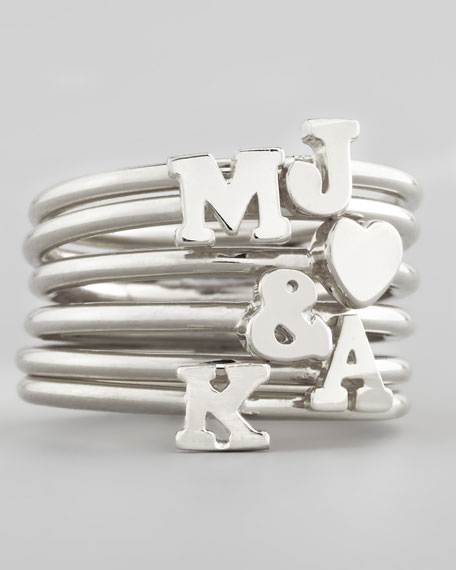 Silver Stackable Initial Ring