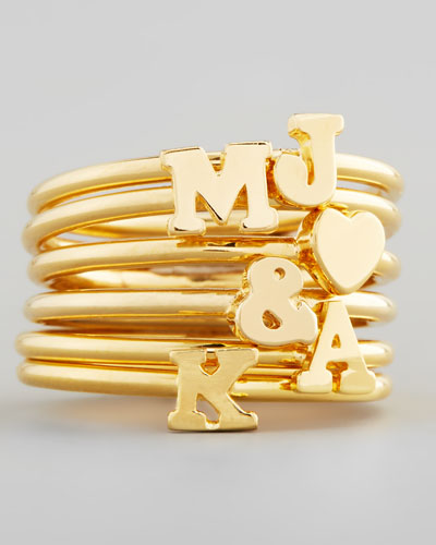 Gold Stackable Initial Ring