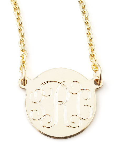 Cara Monogrammed 14k Gold Necklace, 3/8""