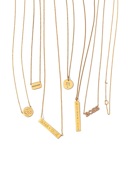 Cara Monogrammed 14kt Gold Necklace, 1/2""