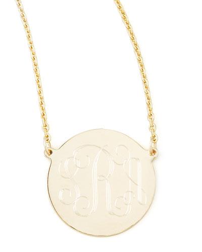 """Cara Monogrammed 14k Gold Necklace, 5/8"""""""