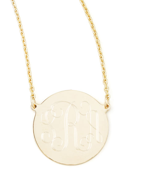 Cara Monogrammed 14k Gold Necklace, 5/8""