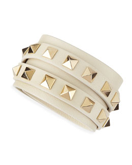 Valentino Multi-Strand Leather Wrap Bracelet, Ivory