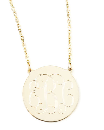 Cara Monogrammed 14k Gold Necklace, 3/4""