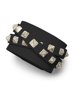 Valentino Rockstud Multi-Strand Crystal-Stud Leather Bracelet, Black