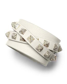 Valentino Rockstud Multi-Strand Crystal-Stud Leather Bracelet, Ivory