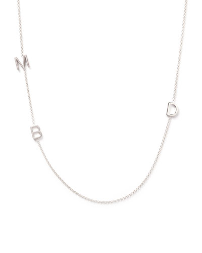 Mini 3-Letter Personalized Necklace, 14k White Gold