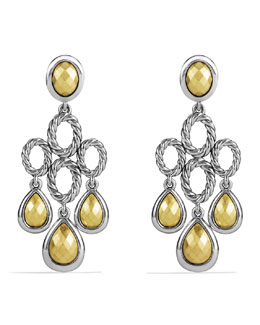 David Yurman Sculpted Cable Chandelier Earrings with Gold Domes