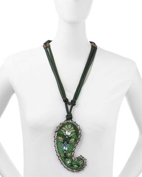 Long Crystal Paisley Pendant Ribbon Necklace