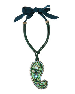 Lanvin Long Crystal Paisley Pendant Ribbon Necklace