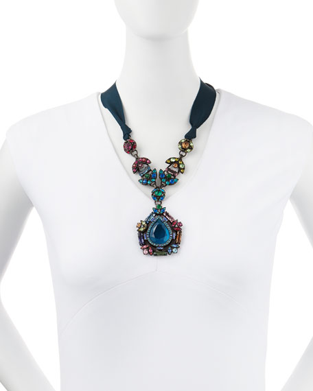 Multicolor Crystal Pendant Necklace with Ribbons