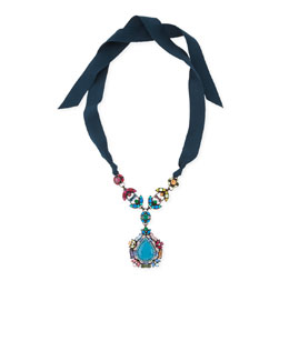 Lanvin Multicolor Crystal Pendant Necklace with Ribbons