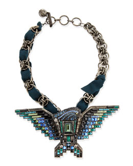 Lanvin Short Crystal Eagle Necklace, Teal