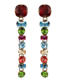 Lanvin Multicolor Crystal Drop Clip-On Earrings