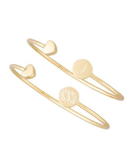 Gold Elle Heart-Cap Engravable Bangle