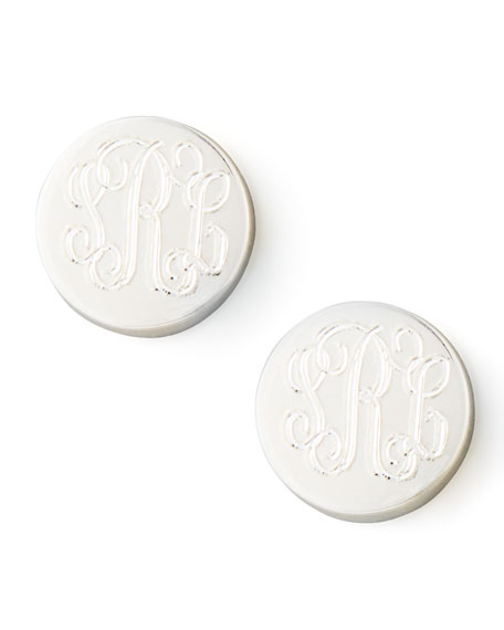 Sarah Chloe Lia Monogrammed Stud Earrings, Silver