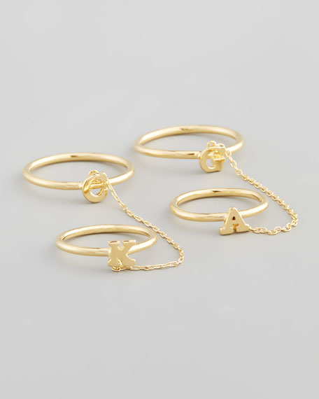 Gold Shea Linked Initial Rings