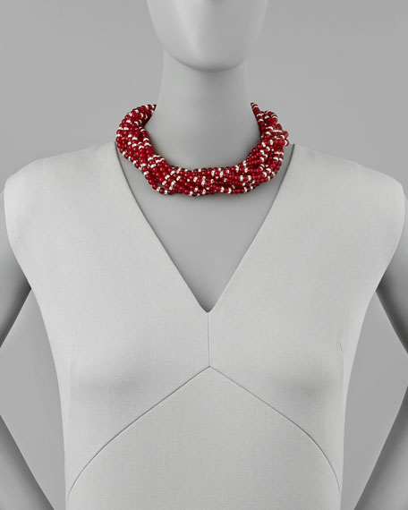Multi-Strand Beaded Torsade Necklace, Red
