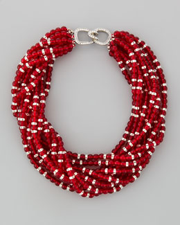 Kenneth Jay Lane Multi-Strand Beaded Torsade Necklace, Red
