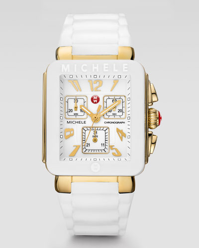 MICHELE Park Jelly Bean Watch, White/Yellow Golden
