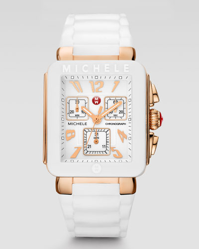 MICHELE Park Jelly Bean Watch, White/Rose Golden