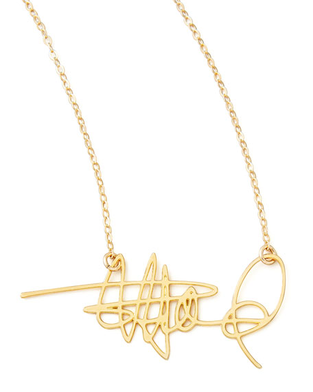 BREVITY Custom Signature Necklace in Gold