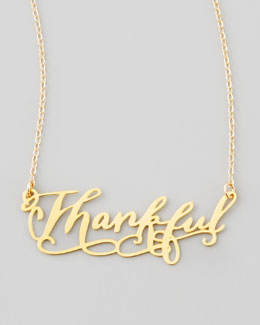 Brevity Thankful Pendant Necklace