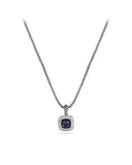 David Yurman Petite Albion Pendant with Black Orchid and Diamonds on Chain