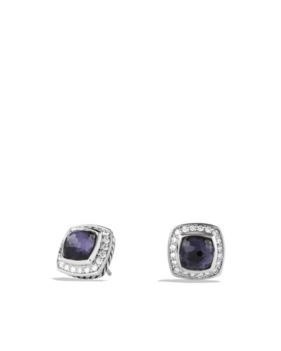 David Yurman Petite Albion Earrings with Black Orchid and Diamonds