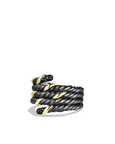 David Yurman Black & Gold Serpent Ring with Black Diamonds