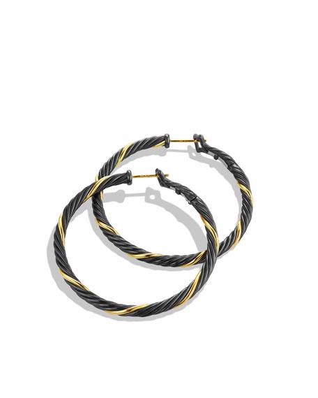 Black & Gold Large Hoop Earrings