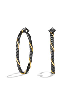 David Yurman Black & Gold Large Hoop Earrings