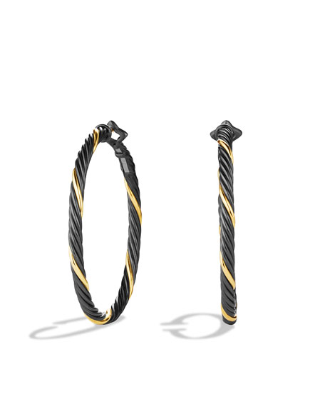 David Yurman Black & Gold Large Hoop Earrings