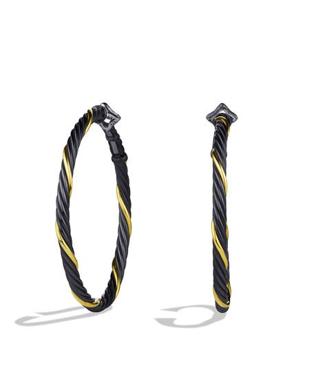 David Yurman Black & Gold Small Hoop Earrings