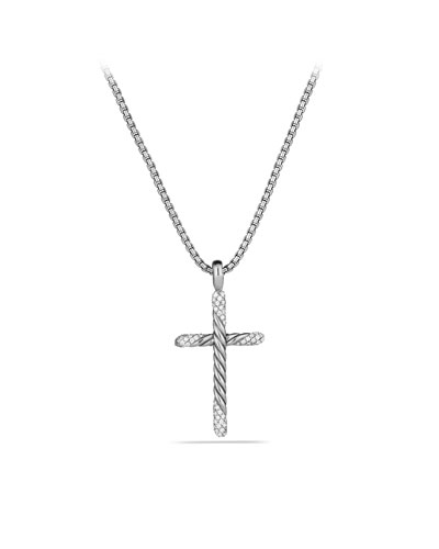 David Yurman Willow Cross with Diamonds on Chain
