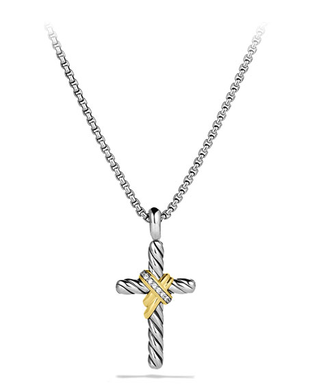 David Yurman X Cross with Diamonds and Gold