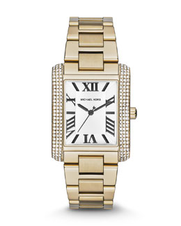 Michael Kors  Mid-Size Golden Stainless Steel Emery Three-Hand Glitz Watch