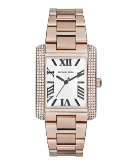Michael Kors  Mid-Size Rose Golden Stainless Steel Emery Three-Hand Glitz Watch