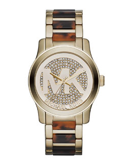Michael Kors  Mid-Size Golden Stainless Steel Logo Runway Three-Hand Glitz Watch