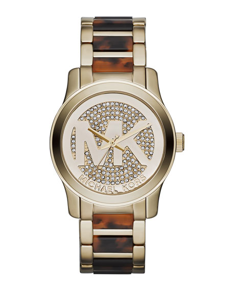 Mid-Size Golden Stainless Steel Logo Runway Three-Hand Glitz Watch