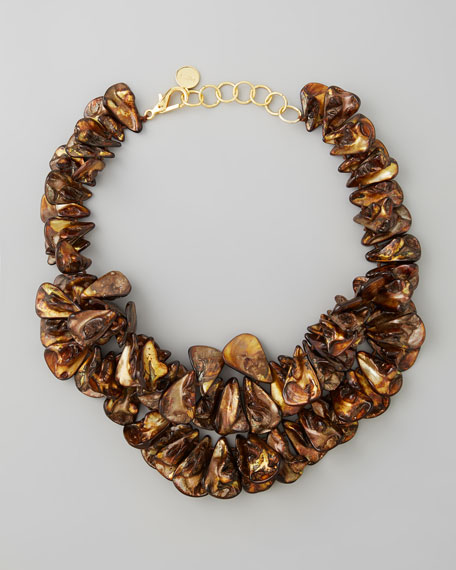 Brown Mother-of-Pearl Cluster Necklace