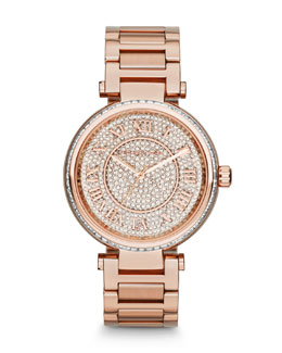 Michael Kors  Mid-Size Rose Golden Skylar Two-Hand Glitz Watch