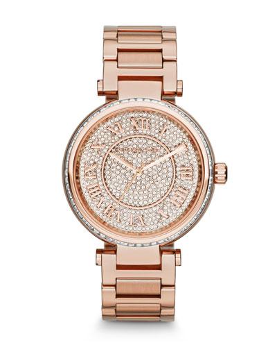 Michael Kors  Mid-Size Rose Golden Skylar Two-Hand Glitz Watch